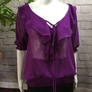 🌻 SALE! 3/$20 Purple sheer keyhole medium top